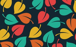 Picture texture, leaves, black background, Vector, Background, Leaves, Pattern