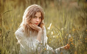 Picture grass, look, the sun, pose, model, portrait, makeup, hairstyle, blonde, sitting, in white, nature, bokeh, …