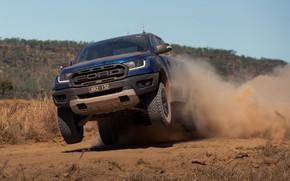 Picture blue, jump, Ford, dust, Raptor, pickup, 2018, Ranger