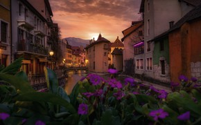 Picture flowers, the city, France, home, the evening, channel, Annecy