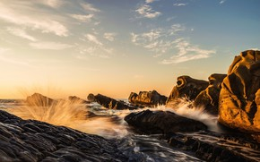 Picture sea, wave, the sky, the sun, clouds, light, landscape, stones, rocks, shore, stream, morning, surf, …