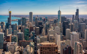 Picture skyscrapers, Chicago, panorama, USA