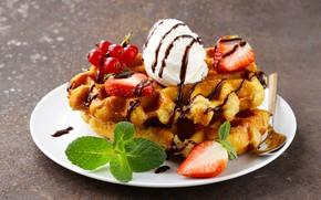 Picture berries, chocolate, ice cream, dessert, waffles