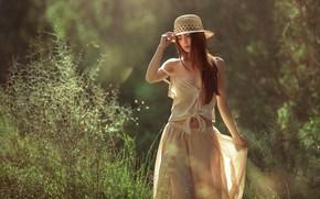 Picture look, girl, nature, pose, hair, hat, bokeh, Evgeny Loza