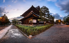 Picture road, house, Japan, Kyoto