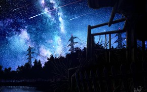Picture the sky, night, lake, power lines, shooting stars
