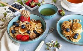 Picture berries, tea, Breakfast, honey, Cup, pancakes