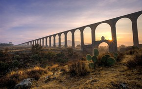 Picture sky, landscape, nature, bridge, sunset, clouds, sun, plants, cactus, sun rays, arches, Aqueduct