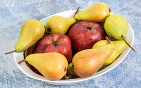 Picture apples, yellow, plate, red, fruit, pear, two, a lot, blue background
