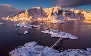 Picture snow, mountains, Norway, top, houses, Lofoten