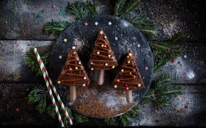 Picture photo, Chocolate, Board, New year, Tree, Sweets, Food
