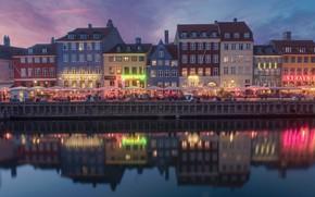 Picture reflection, building, home, Denmark, channel, cafe, promenade, Denmark, Copenhagen, Copenhagen, Nyhavn, Nyhavn, New Harbour