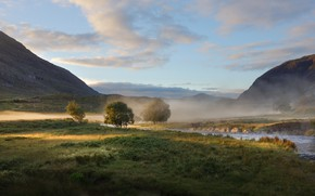 Picture fog, river, morning