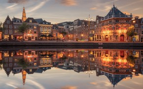 Picture night, reflection, river, home, Amsterdam, Netherlands