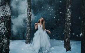 Picture winter, forest, girl, snow, night, pose, fog, trunks, dress, couples, twilight, twilight, Princess, snowfall