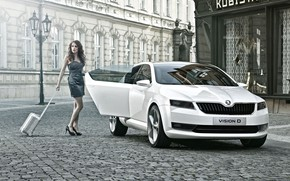 Picture auto, look, Girls, beautiful girl, posing on the car, Skoda Vision