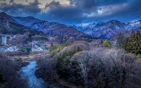 Picture forest, the sky, clouds, trees, mountains, clouds, river, blue, home, Japan, valley, bridges, Gunma