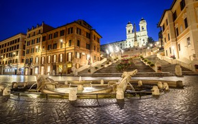 Picture lights, Rome, Italy, The Spanish steps, the fountain of the old boat