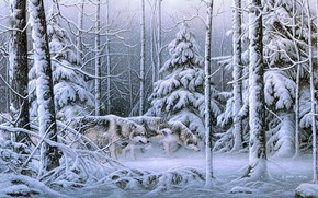 Picture winter, forest, snow, picture, ate, art, wolves, painting, snowfall, Derek C. Wicks