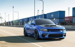 Picture Auto, Blue, Machine, Car, Car, Render, Dodge Charger, Hellcat, Rendering, SRT, Sports car, Container, Blue …