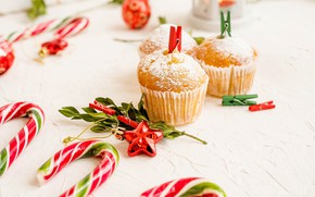 Picture food, praznik, cupcake, cupcakes, powder, rojdestvo