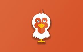 Picture minimalism, bird, animal, funny, digital art, artwork, cute, simple background, orange background, Chicken