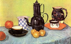 Picture table, apples, kettle, lemons, Vincent van Gogh, Earthenware and Fruit, Still Life Blue Enamel Coffeepot