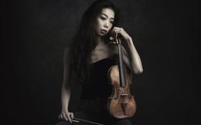 Picture girl, music, violin, Sayaka Kinoshiro