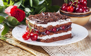 Picture cherry, berries, rose, chocolate, cake, dessert, sweet, chocolate, cherry, cakes, biscuit