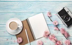 Picture flowers, coffee, the camera, Cup, Notepad, pencil