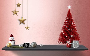 Picture winter, background, holiday, Christmas, shelf, New year, snowman, herringbone, red, items, Christmas decorations, Christmas toys