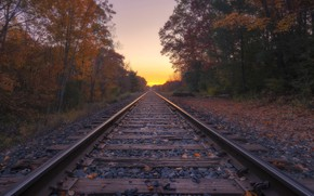 Picture sunset, nature, railroad