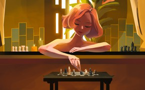 Picture girl, the film, figure, candles, makeup, chess, art, hairstyle, bath, red, table, figures, Anya Taylor-Joy, …