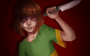 Picture blood, knife, madness, Undertale, Chara