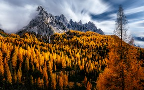 Picture autumn, clouds, trees, mountains, Italy, Dolomites