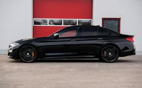 Picture black, BMW, profile, sedan, G-Power, 2018, 5, 5-series, G30, M550i