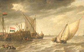 Picture oil, picture, 1652, Bonaventura Peeters, The ships in the Dock, Bonaventura Peters