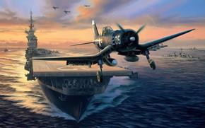 Picture art, airplane, aviation, f4u corsair
