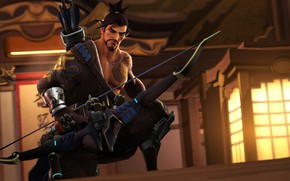 Picture bow, tattoo, male, beard, quiver, Archer, Overwatch, Hanzo Shimada