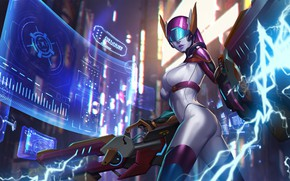 Picture chest, girl, weapons, body, art, helmet, cyborg, Heroes of Newerth, Flint Beastwood, F.L.E.X.