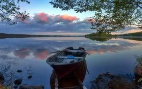 Picture lake, boat, Finland