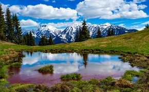 Picture the sky, clouds, mountains, lake