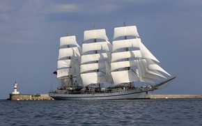 Picture sea, lighthouse, sailboat, frigate, Hersonissos, учебное судно, Трёхмачтовый фрегат Херсонес