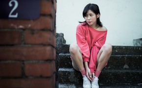 Picture girl, house, Asian