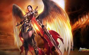 Picture angel, sword, warrior, League of Angels, League of angels