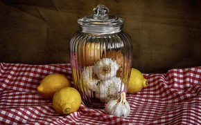 Picture glass, background, towel, Bank, still life, lemons, garlic, in the cage