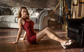 Picture look, sexy, pose, sofa, model, portrait, chair, makeup, figure, dress, hairstyle, shoes, brown hair, legs, …