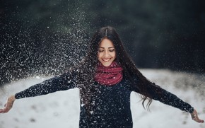 Picture girl, snow, smile, Ivan Salnikov
