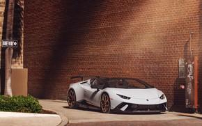 Picture Lamborghini, White, Performante, Huracan