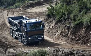 Picture traces, earth, Renault, body, breed, dump truck, four-axle, Renault Trucks, K-series